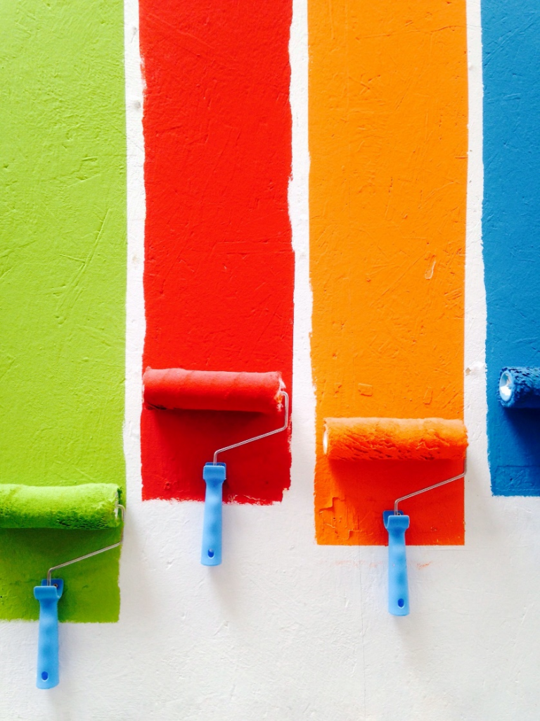 Painting with different colors using rollers